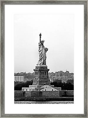 Framed Print featuring the photograph Statue Of Liberty Black And White by Kristin Elmquist