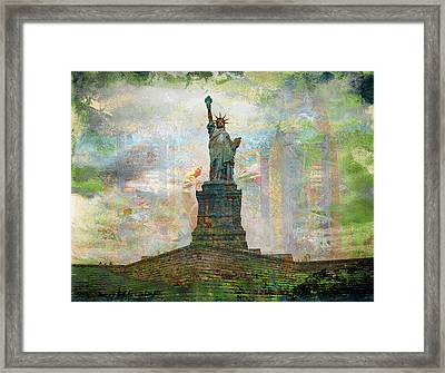 Statue Of Liberty Coloured Framed Print