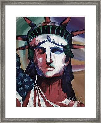 Statue Of Liberty Hb5t Framed Print by Gull G