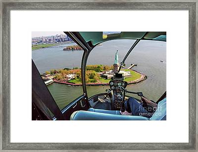 Statue Of Liberty Helicopter Framed Print