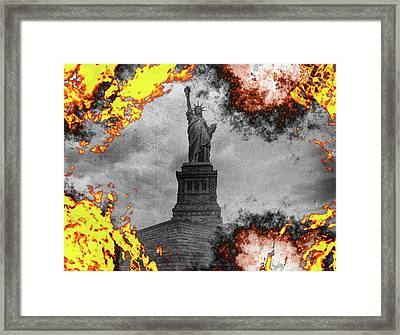 Statue Of Liberty In Flames Framed Print