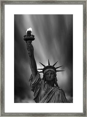Statue Of Liberty Monochrome Framed Print by Martin Newman