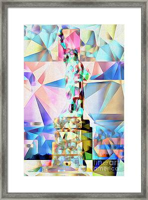 Framed Print featuring the photograph Statue Of Liberty New York In Abstract Cubism 20170327 by Wingsdomain Art and Photography
