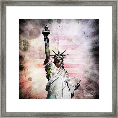 Framed Print featuring the digital art Statue Of Liberty by Phil Perkins