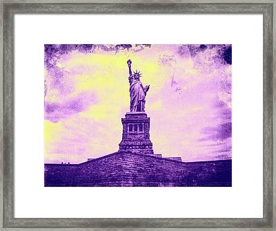 Statue Of Liberty Pinkish Framed Print
