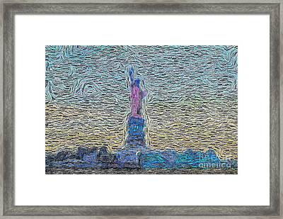 Statue Of Liberty Swirl Framed Print