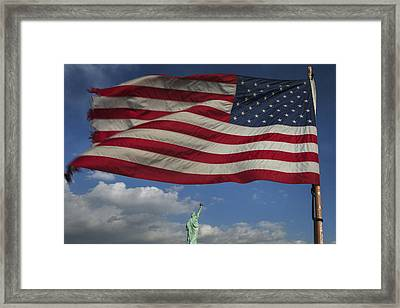 Statue Of Liberty Under The Flag Framed Print