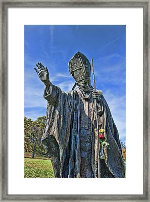 Statue Of Pope John Paul II - The Blue Army Shrine Of Our Lady Of Fatima Framed Print