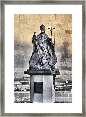 Framed Print featuring the photograph Statue Of Pope John Paul by Jim Walls PhotoArtist