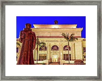 Statue Of Saint Junipero Serra In Front Of San Buenaventura City Hall Framed Print