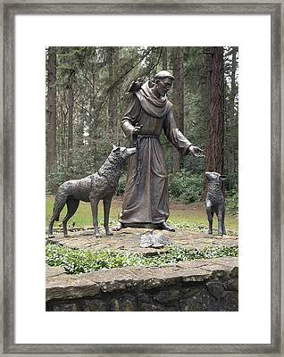 Statue Of St. Francis Of Assisi. Framed Print by Gino Rigucci