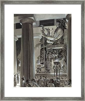 Statue Of Zeus At Olympia Framed Print by Peter Jackson