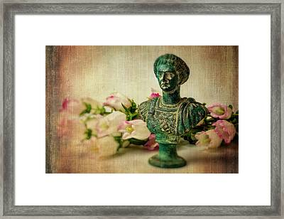 Statue With Campanula Flowers Framed Print