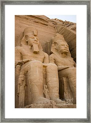 Statues At Abu Simbel Framed Print by Darcy Michaelchuk