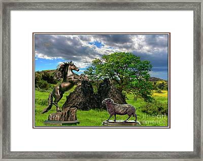 Statues In The Park Framed Print by Pemaro