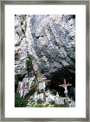 Statues Of Jesus Christ On The Cross At The Christian Pilgrimage Site Of La Sainte-baume Framed Print by Sami Sarkis