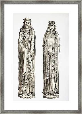 Statues Of King Clovis I And His Wife Framed Print by Vintage Design Pics