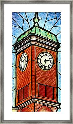Framed Print featuring the painting Staunton Clock Tower Landmark by Jim Harris