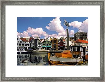 Stavanger Harbor Framed Print by Sally Weigand