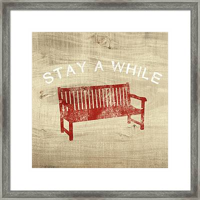 Stay A While- Art By Linda Woods Framed Print by Linda Woods