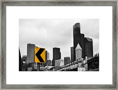 Stay Left Of Downtown Seattle Framed Print by Pelo Blanco Photo