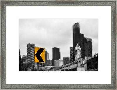 Stay Left Of Downtown Seattle Soft Glow Framed Print by Pelo Blanco Photo