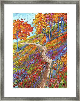 Stay On The Path - Modern Impressionist, Landscape Painting, Oil Palette Knife Framed Print
