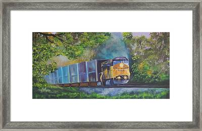 Stayin' On Track Framed Print by Connie Townsend