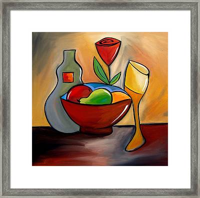 Staying In - Abstract Wine Art By Fidostudio Framed Print by Tom Fedro - Fidostudio