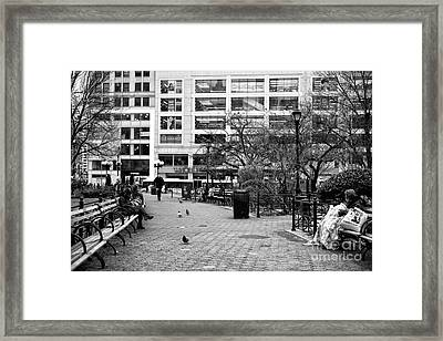 Staying Warm In Union Square Park Framed Print