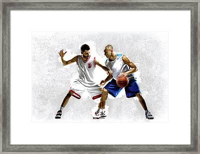 Steal The Basketball Framed Print by Elaine Plesser