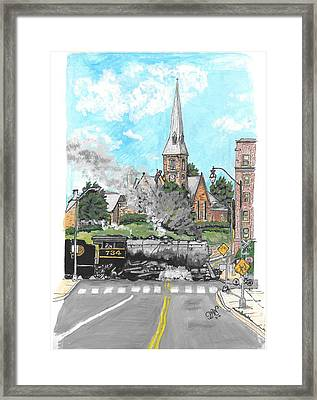 Steam At Baltimore Street Crossing Framed Print by Patricia Wilt