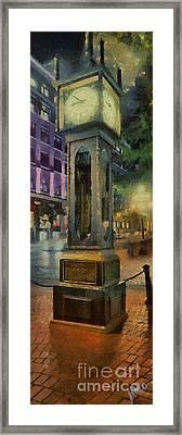 Framed Print featuring the digital art Steam Clock Gastown by Jim  Hatch