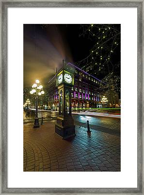 Steam Clock In Gastown Vancouver Bc At Night Framed Print