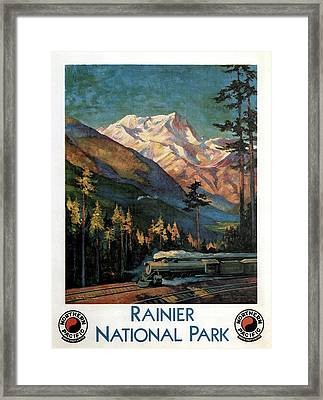 Steam Engine Train Running By The Rainer National Park - Landscape Painting - Vintage Travel Poster Framed Print