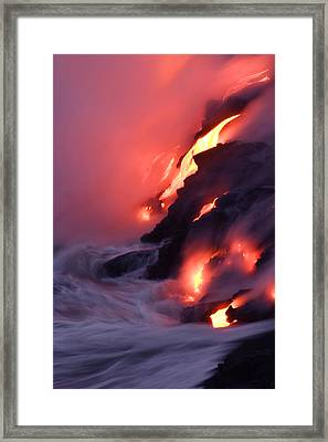 Steam Fills The Air As Water Meets Lava Framed Print