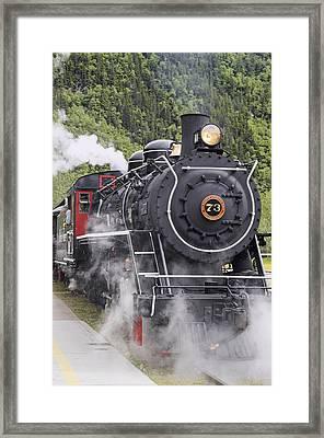 Steam Locomotive  73 At Downtown Depot Framed Print by Harry M. Walker
