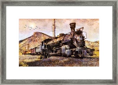 Framed Print featuring the digital art Steam Locomotive by Ian Mitchell