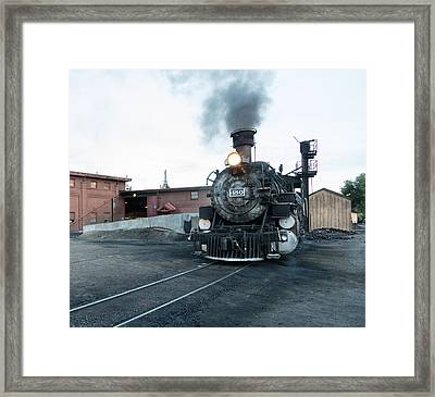 Framed Print featuring the photograph Steam Locomotive In The Train Yard Of The Durango And Silverton Narrow Gauge Railroad In Durango by Carol M Highsmith