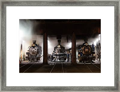 Framed Print featuring the photograph Steam Locomotives In The Roundhouse Of The Durango And Silverton Narrow Gauge Railroad In Durango by Carol M Highsmith