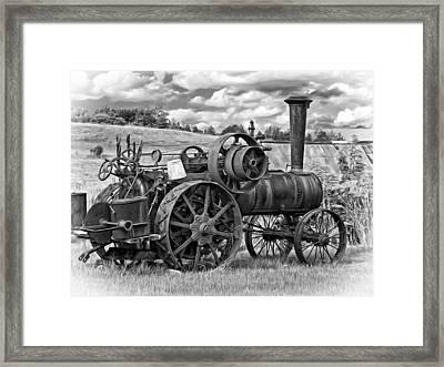 Steam Powered Tractor - Paint Bw Framed Print by Steve Harrington