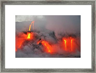 Steam Rising Off Lava Flowing Into Ocean Framed Print by  Sami Sarkis