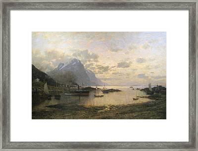 Steam Ship Port Calls In The Lofoten Islands Framed Print