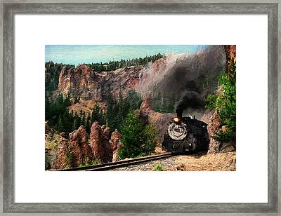 Steam Through The Rock Formations Framed Print by Ken Smith