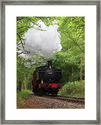 Steam Train Approaching In The Forest Framed Print by Gill Billington