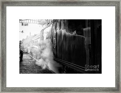 Steam Train At Pickering Station Framed Print by Patricia Hofmeester