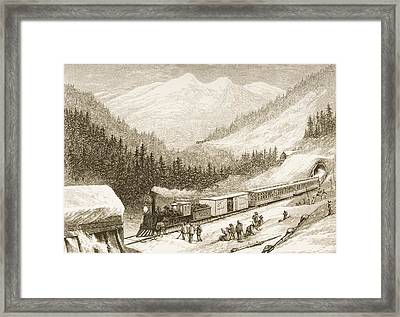 Steam Train Carrying Us Mail Across Framed Print