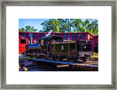 Steam Train No 3 On The Turntable Framed Print by Garry Gay