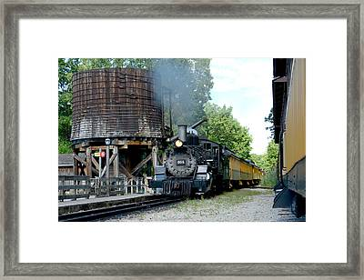 Steam Train Passing Water Tower Framed Print
