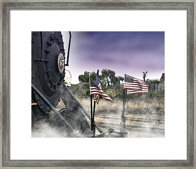 Steam Train Patriotic Framed Print